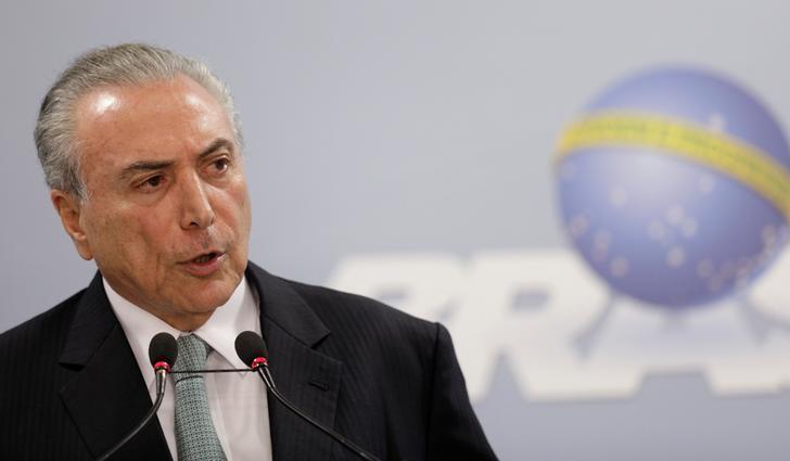 2017年5月18日,巴西巴西利亚,巴西总统特梅尔在总统府讲话。REUTERS/Ueslei Marcelino