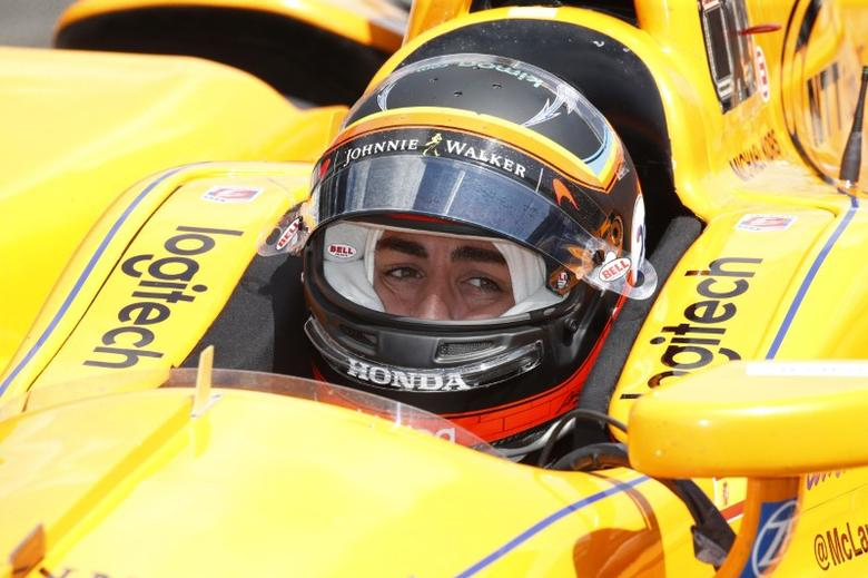 May 18, 2017; Indianapolis, IN, USA; Verizon IndyCar Series driver Fernando Alonso pulls out of the pits during practice for the 101st Running of the Indianapolis 500 at Indianapolis Motor Speedway. Mandatory Credit: Brian Spurlock-USA TODAY Sports