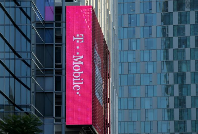 A T-Mobile logo is advertised on a building sign in Los Angeles, California, U.S., May 11, 2017. REUTERS/Mike Blake