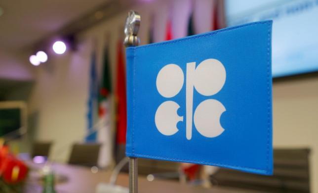 5月19日、関係筋が明らかにしたところによると、石油輸出国機構(OPEC)は来週ウィーンで行う総会で機構主導による産油国の協調減産の延長と深化を検討する見込みだ。写真はOPECのロゴマーク。2016年12月撮影(2017年 ロイター/Heinz-Peter Bader/File Photo)