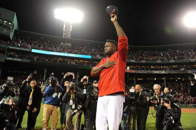 FILE PHOTO: Oct 10, 2016; Boston, MA, USA; Boston Red Sox designated hitter David Ortiz (34) salutes the fans after the loss against the Cleveland Indians in game three of the 2016 ALDS playoff baseball series at Fenway Park. Mandatory Credit: Bob DeChiara-USA TODAY Sports