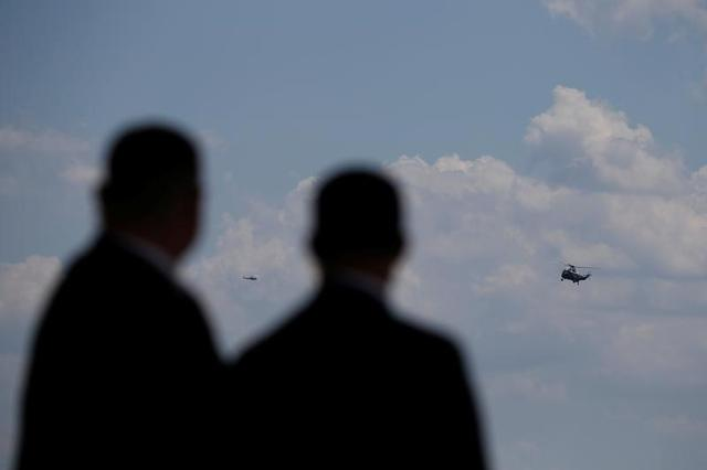 U.S. President Donald Trump arrives via Marine One helicopter to board Air Force One for his first international trip as president, including stops in Saudi Arabia, Israel, the Vatican, Brussels and at the G7 summit in Sicily, from Joint Base Andrews, Maryland, U.S. May 19, 2017. REUTERS/Jonathan Ernst
