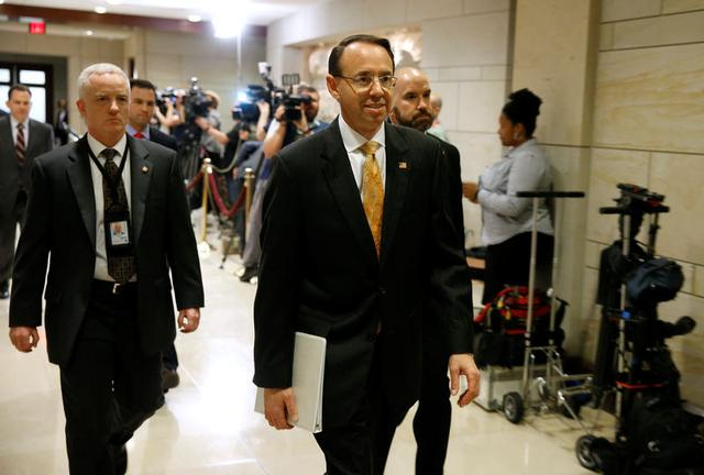 Deputy Attorney General Rod Rosenstein arrives for a closed briefing for members of the House of Representatives to discuss the firing of former FBI Director James Comey, on Capitol Hill in Washington, U.S., May 19, 2017. REUTERS/Joshua Roberts