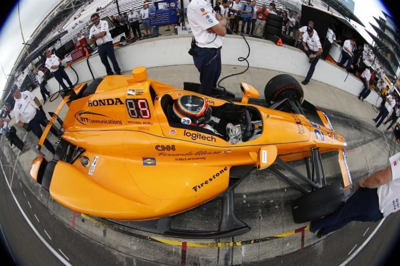 May 19, 2017; Indianapolis, IN, USA; Verizon IndyCar Series driver Fernando Alonso sits in his car in the pits during practice for the 101st Running of the Indianapolis 500 at Indianapolis Motor Speedway. Mandatory Credit: Brian Spurlock-USA TODAY Sports