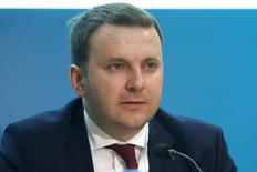 El ministro ruso de Economía, Maxim Oreshkin ,habla durante la Reunión Anual y Foro de Negocios del Banco Europeo, en Nicosia, Chipre. 10 de mayo 2017. Rusia ha enviado una solicitud a la Organización Mundial del Comercio (OMC) pidiendo que se oficien consultas sobre las sanciones de Ucrania contra Moscú, en vigor desde 2014, dijo el sábado el ministro de Economía ruso, Maxim Oreshkin, citado por varias agencias rusas. REUTERS/Yiannis Kourtoglou