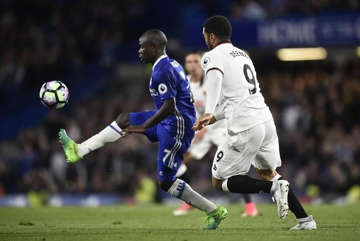 Britain Football Soccer - Chelsea v Watford - Premier League - Stamford Bridge - 15/5/17 Chelsea's N'Golo Kante in action with Watford's Troy Deeney  Reuters / Hannah McKay Livepic