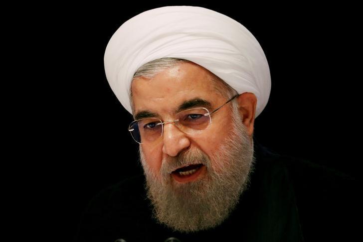资料图片:2016年9月,纽约,伊朗总统鲁哈尼出席记者会。REUTERS/Lucas Jackson/File Photo
