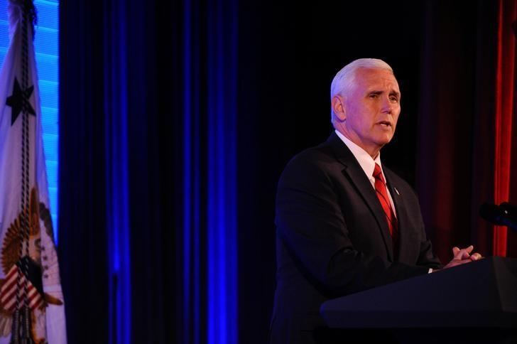 U. S. Vice President Mike Pence addresses Chamber of Commerce ''Invest in America!'' summit in Washington U.S., May 18, 2017. REUTERS/Mary F. Calvert