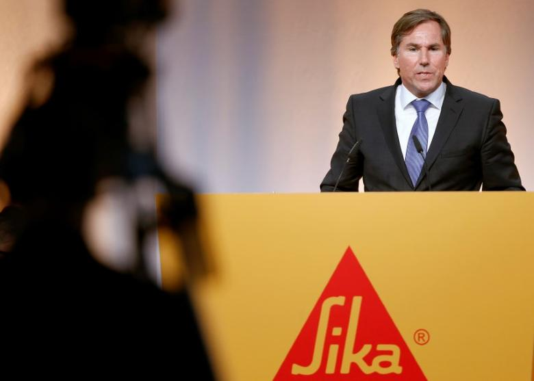 FILE PHOTO: Jan Jenisch, CEO of Swiss chemicals group Sika, addresses the company's annual shareholder meeting in Baar, Switzerland April 11, 2017. REUTERS/Arnd Wiegmann