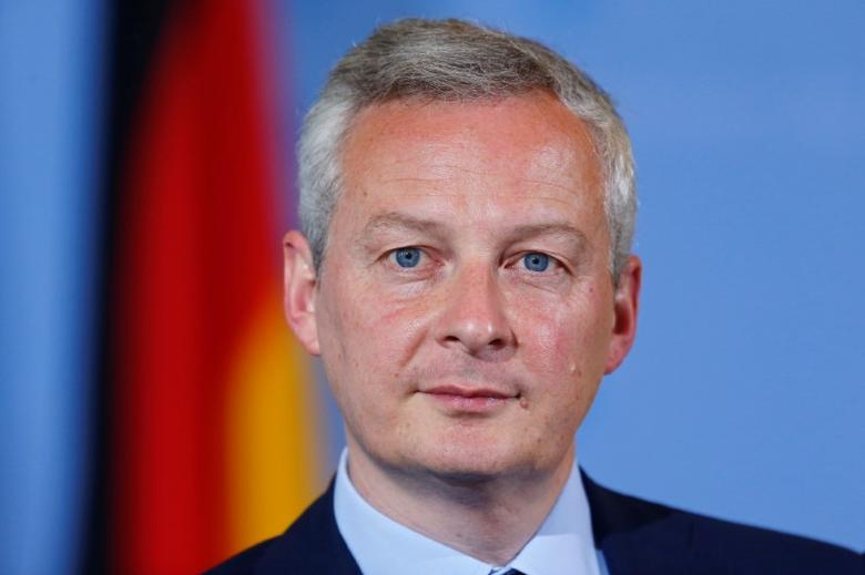 French Economy Minister Bruno Le Maire attends a news conference in Berlin, Germany, May 22, 2017. REUTERS/Hannibal Hanschke
