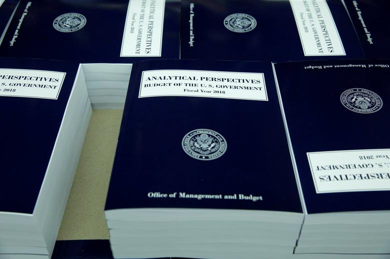 FILE PHOTO - President Donald Trump's FY2018 budget is seen printed at the Government Publishing Office in Washington, U.S. on May 19, 2017. REUTERS/Yuri Gripas/File Photo