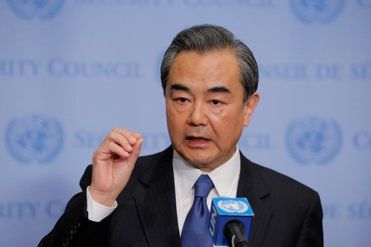 Wang Yi, Chinese Minister for Foreign Affairs, speaks before a meeting of the Security Council inside of United Nations (U.N.) headquarters in New York, U.S., April 28, 2017. REUTERS/Lucas Jackson/Files