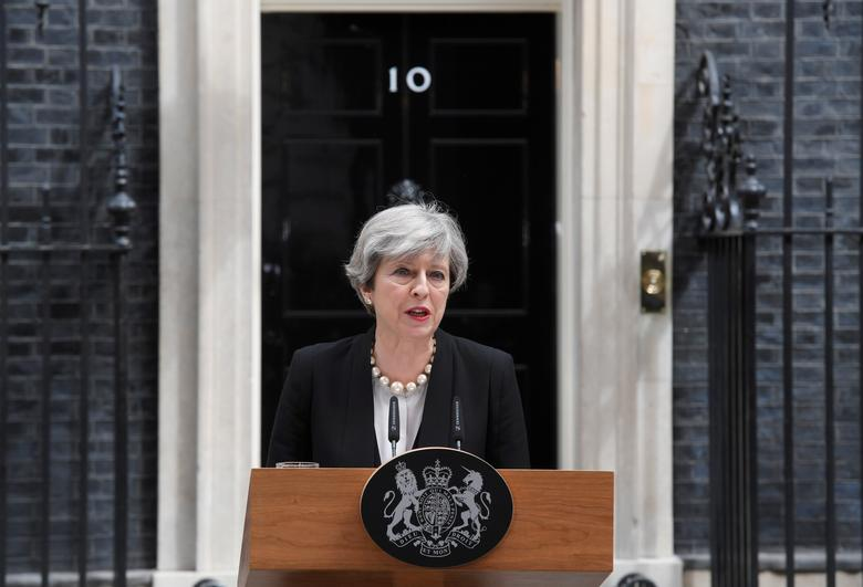 Britain's Prime Minister Theresa May speaks outside 10 Downing Street in London, May 23, 2017. REUTERS/Toby Melville