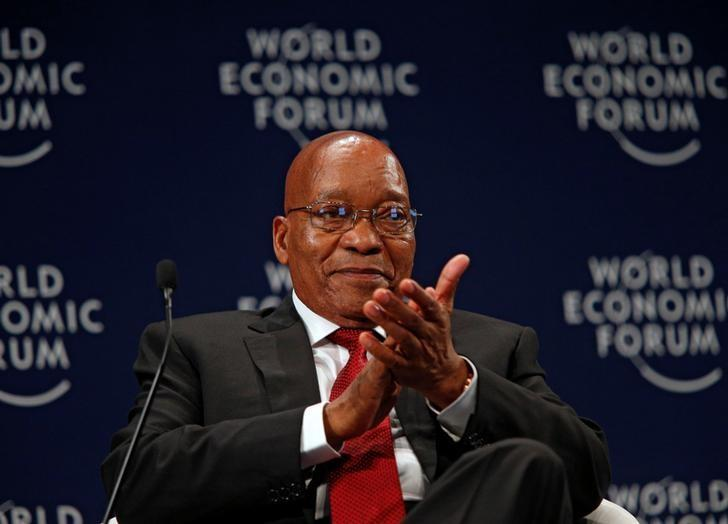 South African President Jacob Zuma reacts while participating in a discussion at the World Economic Forum on Africa 2017 meeting in Durban, South Africa May 4, 2017. REUTERS/Rogan Ward