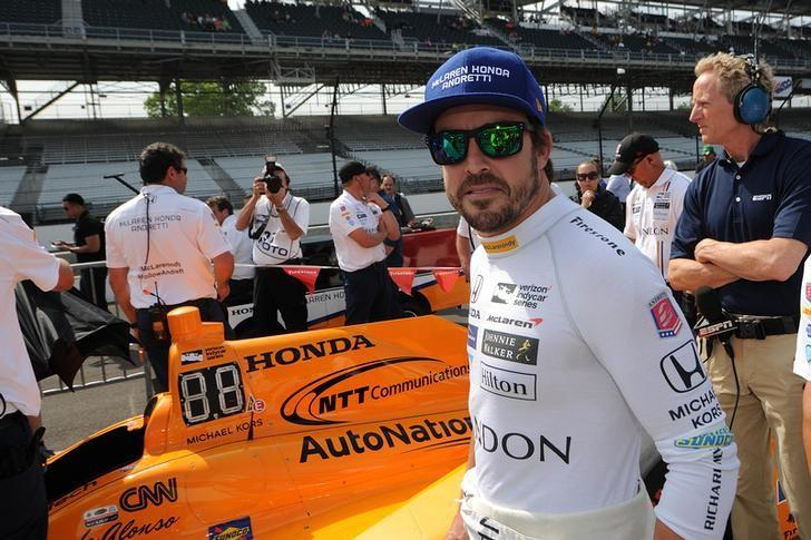 May 20, 2017; Indianapolis, IN, USA; Fernando Alonso waits in line during qualifying for the 101st Running of the Indianapolis 500 at Indianapolis Motor Speedway. Mandatory Credit: Thomas J. Russo-USA TODAY Sports