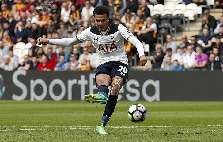 Britain Football Soccer - Hull City v Tottenham Hotspur - Premier League - The Kingston Communications Stadium - 21/5/17 Tottenham's Dele Alli scores their third goal Action Images via Reuters / Lee Smith Livepic