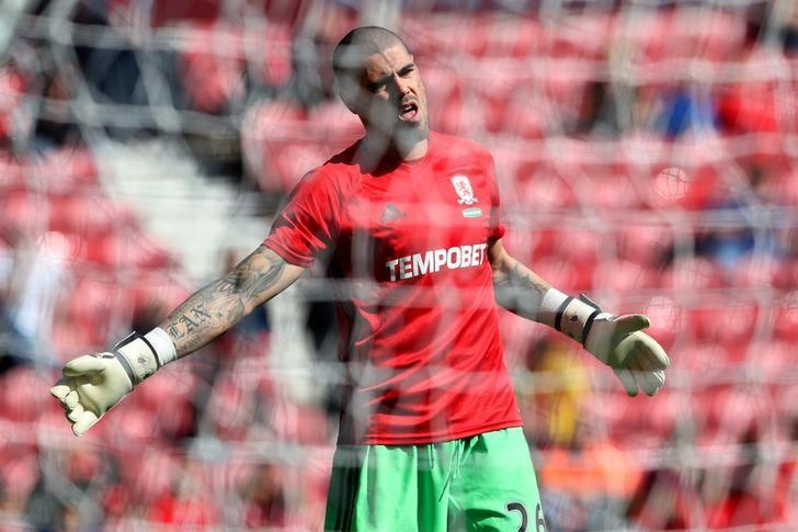 Britain Football Soccer - Middlesbrough v Burnley - Premier League - The Riverside Stadium - 8/4/17 Middlesbrough's Victor Valdes during the warm up before the match  Reuters / Scott Heppell Livepic