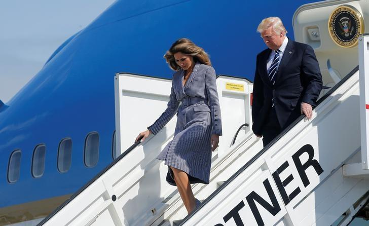U.S. President Donald Trump and first lady Melania Trump arrive at the Brussels Airport, in Brussels, Belgium, May 24, 2017. REUTERS/Jonathan Ernst