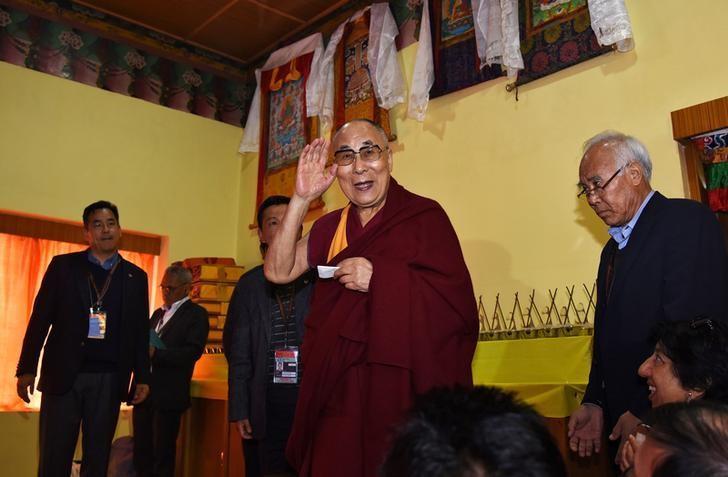 Tibetan spiritual leader Dalai Lama arrives to attend a press conference after delivering teachings at Yiga Choezin, in Tawang, in the northeastern state of Arunachal Pradesh, India April 8, 2017. REUTERS/Anuwar Hazarika