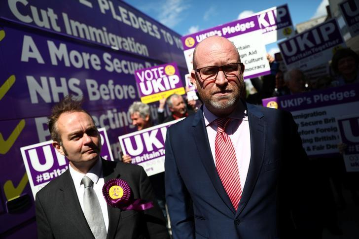 UKIP leader Paul Nuttall (R) campaigns in Clacton-on-Sea, Britain May 20, 2017. REUTERS/Neil Hall
