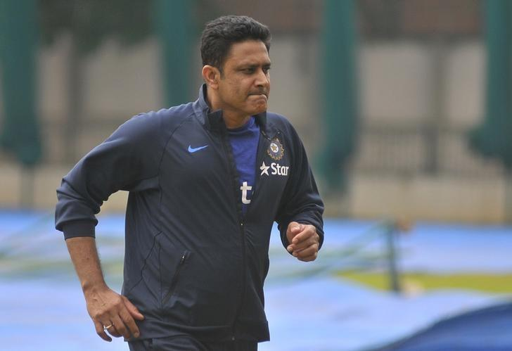 India Cricket - India practice session Bengaluru, India - 30/06/16. India's cricket coach Anil Kumble attends a practice session in Bengaluru, June 30, 2016. REUTERS/Abhishek N. Chinnappa