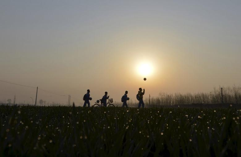Students play with their soccer balls as they walk among crop fields to the Sunji Township Centre Primary School during sunrise in Sunji township of Shanghe county, Shandong province March 25, 2015. REUTERS/Stringer