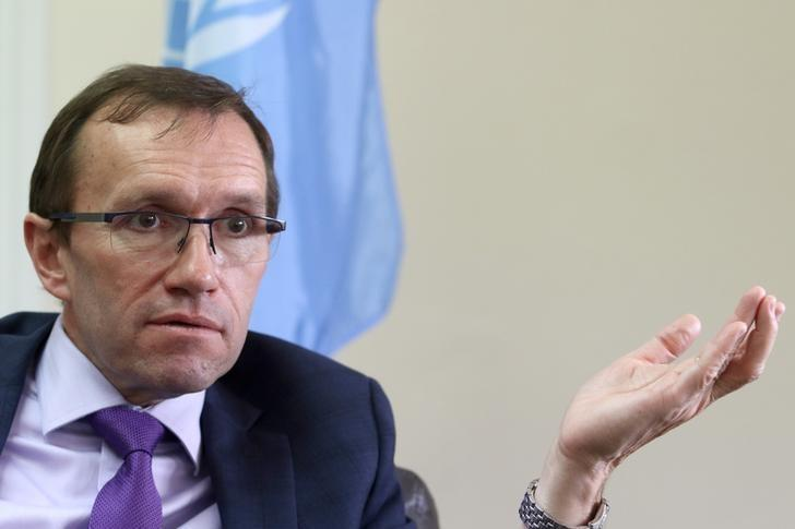United Nations Special Advisor on Cyprus Espen Barth Eide speaks during an interview with Reuters at the United Nations offices in the buffer zone of Nicosia airport, Cyprus April 13, 2017. REUTERS/Yiannis Kourtoglou/Files