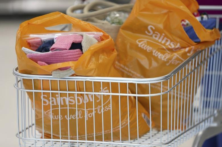 Bags sit in a shopping trolley at a Sainsbury's store in London, Britain October 11, 2016. REUTERS/Neil Hall