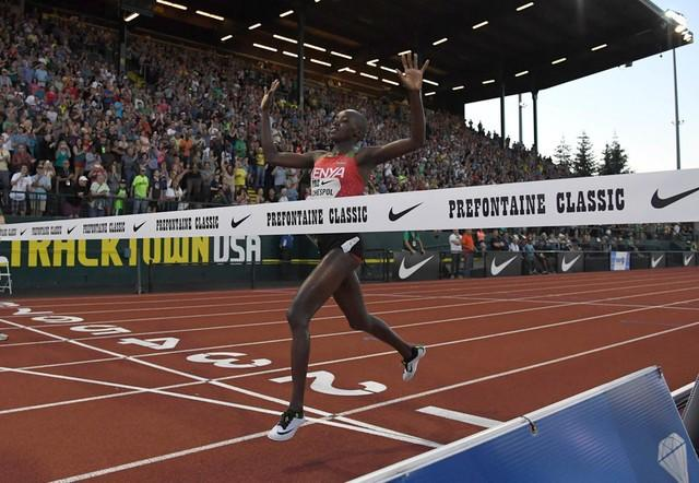 May 26, 2017; Eugene, OR, USA; Celliphine Chespol (KEN) celebrates after winning the women's steeplechase in 8:58.78 during the 43rd Prefontaine Classic at Hayward Field. Mandatory Credit: Kirby Lee-USA TODAY Sports