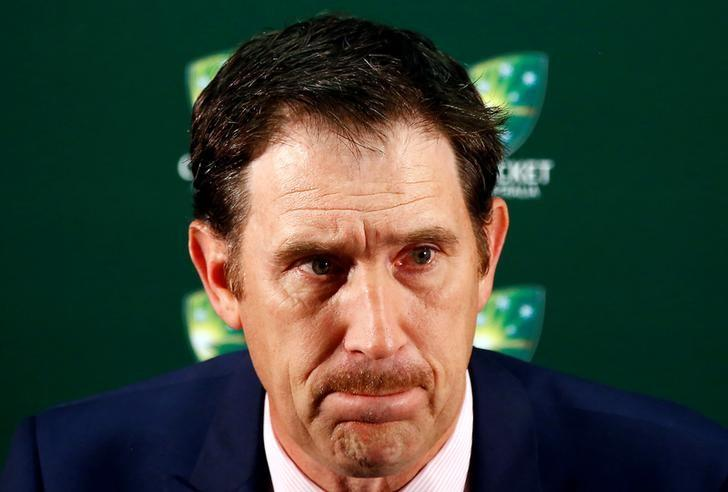 Cricket Australia Chief Executive Officer (CEO) James Sutherland reacts as he talks during a media conference at the WACA Ground in Perth, Australia, November 4, 2016.     REUTERS/David Gray/Files