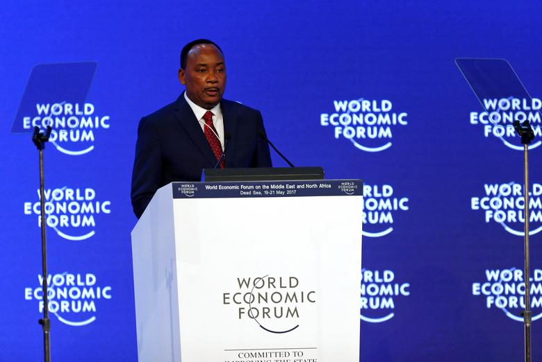 Niger's President Mahamadou Issoufou speaks at the opening ceremony of the World Economic Forum (WEF) on the Middle East and North Africa at the King Hussein Convention Centre at the Dead Sea May 20, 2017. REUTERS/Muhammad Hamed