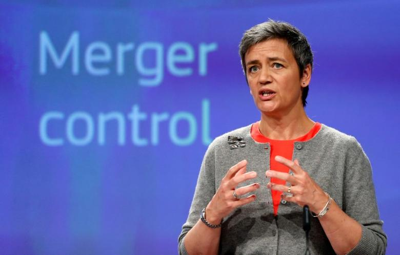 European Competition Commissioner Margrethe Vestager holds a news conference at the EU Commission's headquarters in Brussels, Belgium, April 5, 2017. REUTERS/Francois Lenoir