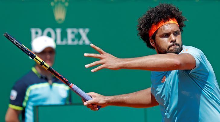 Tennis - Monte Carlo Masters - Monaco, 18/04/2017.  Jo-Wilfried Tsonga of France plays a shot to his compatriot Adrian Mannarino.     REUTERS/Eric Gaillard