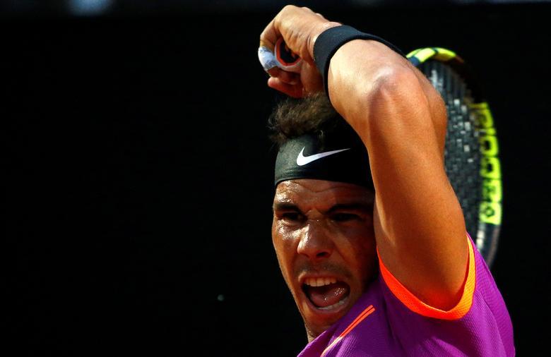 FILE PHOTO: Tennis - ATP - Rome Open - Rafael Nadal of Spain v Jack Sock of the United States - Rome, Italy - 18/5/17 -  Rafael Nadal of Spain returns the ball.      REUTERS/Stefano Rellandini/File Photo