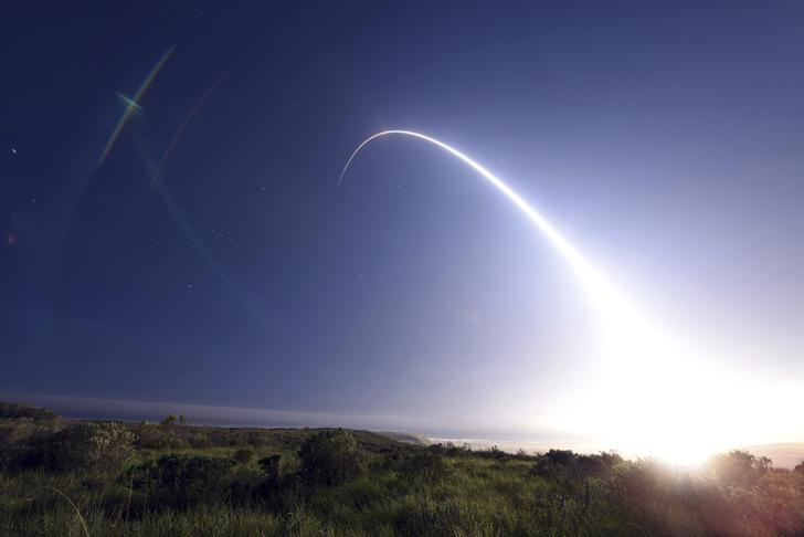 FILE PHOTO: An unarmed Minuteman III intercontinental ballistic missile launches during an operational test from Vandenberg Air Force Base, California at 11:01 p.m. On February 25, 2016. REUTERS/Kyla Gifford/U.S. Air Force Photo/Handout via Reuters