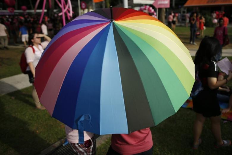 Participants shield themselves from the sun under a rainbow-coloured umbrella before taking part in the forming of a giant pink dot at the Speakers' Corner in Hong Lim Park in Singapore June 28, 2014.  REUTERS/Edgar Su/Files