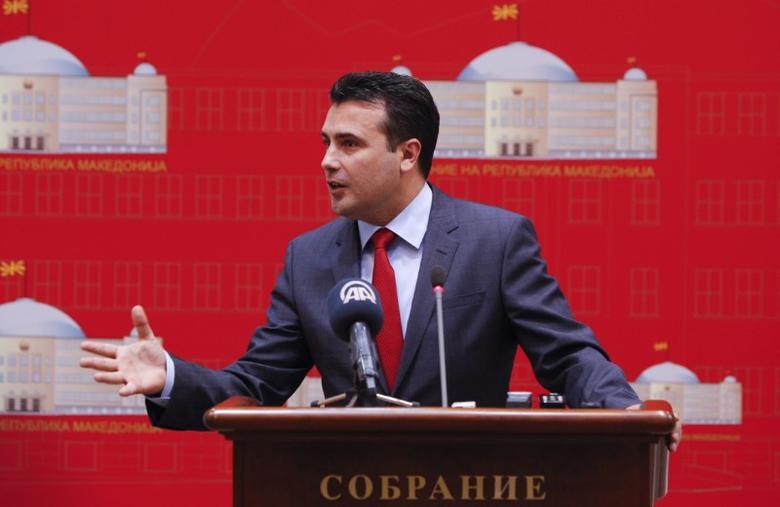 FILE PHOTO: Macedonian Social Democratic leader Zoran Zaev speaks during a press conference at the Parliament  in Skopje. Macedonia April 27, 2017. REUTERS/Ognen Teofilovski