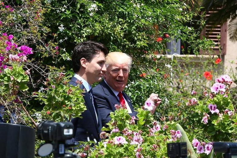 U.S. President Donald Trump and Canadian Prime Minister Justin Trudeau  in Taormina, Sicily, Italy, May 27, 2017. REUTERS/Alessandro Bianchi