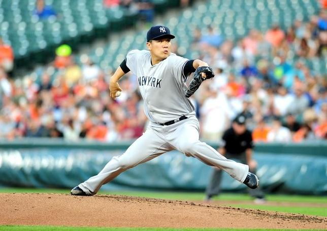 5月31日、MLBヤンキースの田中将大投手は、敵地でのオリオールズ戦に先発登板し、今季5敗目を喫した(2017年 ロイター/Evan Habeeb-USA TODAYSports)