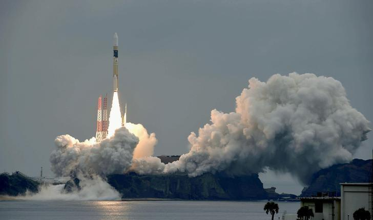 A H-IIA rocket, carrying a Michibiki 2 satellite, one of four satellites that will augment regional navigational systems, lifts off from the launching pad at Tanegashima Space Center on the southwestern island of Tanegashima, Japan, in this photo taken by Kyodo June 1, 2017.  Mandatory credit Kyodo/via REUTERS