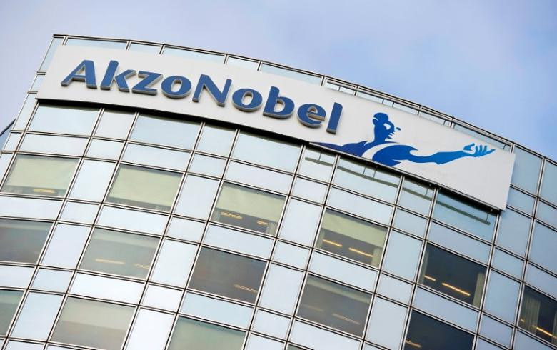 FILE PHOTO --  Akzo Nobel's logo is seen in Amsterdam, Netherlands, February 16, 2012.    REUTERS/Robin van Lonkhuijsen/United Photos/File Photo