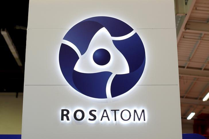 The logo of Russian state nuclear monopoly Rosatom is pictured at the World Nuclear Exhibition 2014, the trade fair event for the global nuclear energy sector, in Le Bourget, near Paris, France, October 14, 2014. REUTERS/Benoit Tessier/File Photo