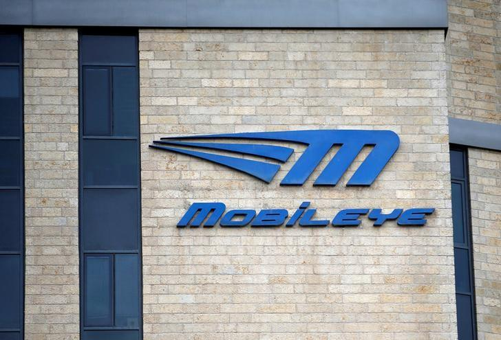 The logo Israeli driverless technology firm Mobileye is seen on the building of their offices in Jerusalem March 13, 2017. REUTERS/Ronen Zvulun/Files