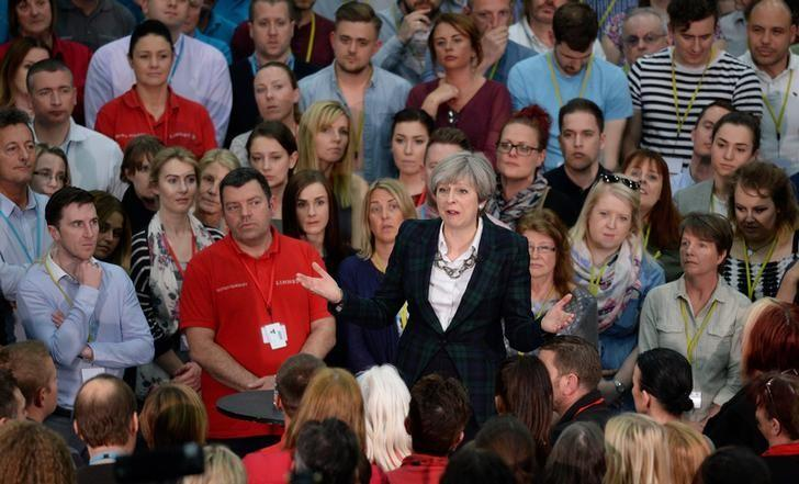 Britain's Prime Minister Theresa May speaks at a general election campaign event at marketing services group Linney, in Mansfield on May 10, 2017. REUTERS/Oli Scarff/Pool