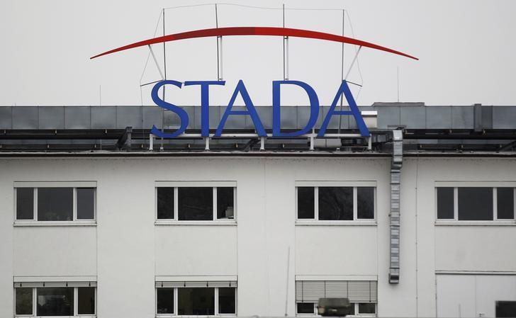 FILE PHOTO: The logo of the pharmaceutical company Stada Arzneimittel AG is pictured at its headquarters in Bad Vilbel near Frankfurt March 14, 2012. REUTERS/Alex Domanski/File Photo