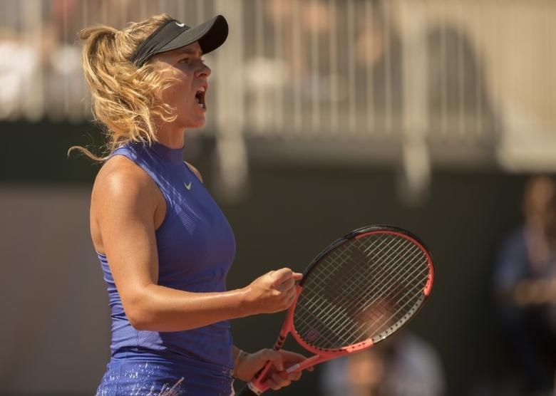 Jun 1, 2017; Paris, France; Elina Svitolina (UKR) reacts during her match against Tsvetana Pironkova (BUL) (not pictured) match on day five of the 2017 French Open tennis tournament at Stade Roland Garros.