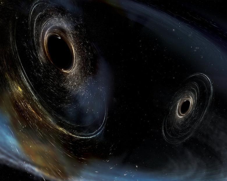 An artist's rendering showing two merging black holes similar to those detected by Laser Interferometer Gravitational-wave Observatory (LIGO) in this handout provided June 1. 2017.   Courtesy of Caltech/MIT/LIGO Laboratory/Handout via REUTERS