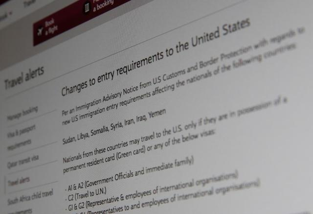 A picture of the travel advisory page of Qatar Airways advising passengers bound for the United States from seven newly banned majority Muslim countries that they need to have either a U.S. green card or diplomatic visa, January 28, 2017 in London, Britain. Picture taken January 28, 2017.  REUTERS/Russell Boyce