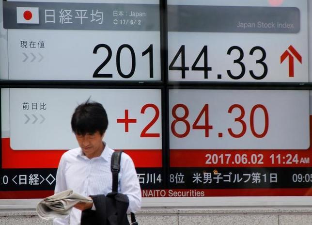 6月2日、東京株式市場で日経平均は大幅続伸となり、2万円台の大台を回復した。終値では2015年8月19日以来約1年9カ月ぶりの高値水準となった。前日の米国市場では堅調な経済指標を好感し主要3指数がそろって最高値を更新。国内年金資金の買いが入ったという観測もあり、指数は寄り直後に2万円を回復した。写真は都内の株価ボード。(2017年 ロイター/Toru Hanai)