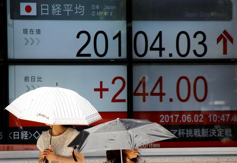 Women holding parasols walk past an electronic board showing Japan's Nikkei average rate outside a brokerage in Tokyo, Japan June 2, 2017. REUTERS/Toru Hanai